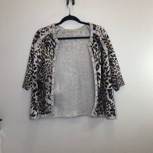 Chicos leopard print knit cardigan sweater lace up